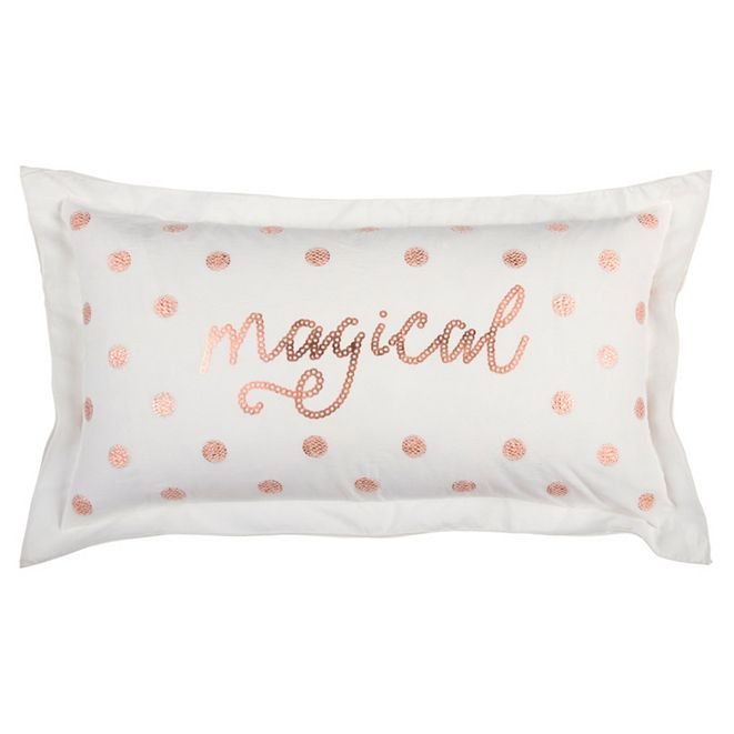 """Rizzy Home 14"""" x 26"""" Typography Down Filled Pillow"""