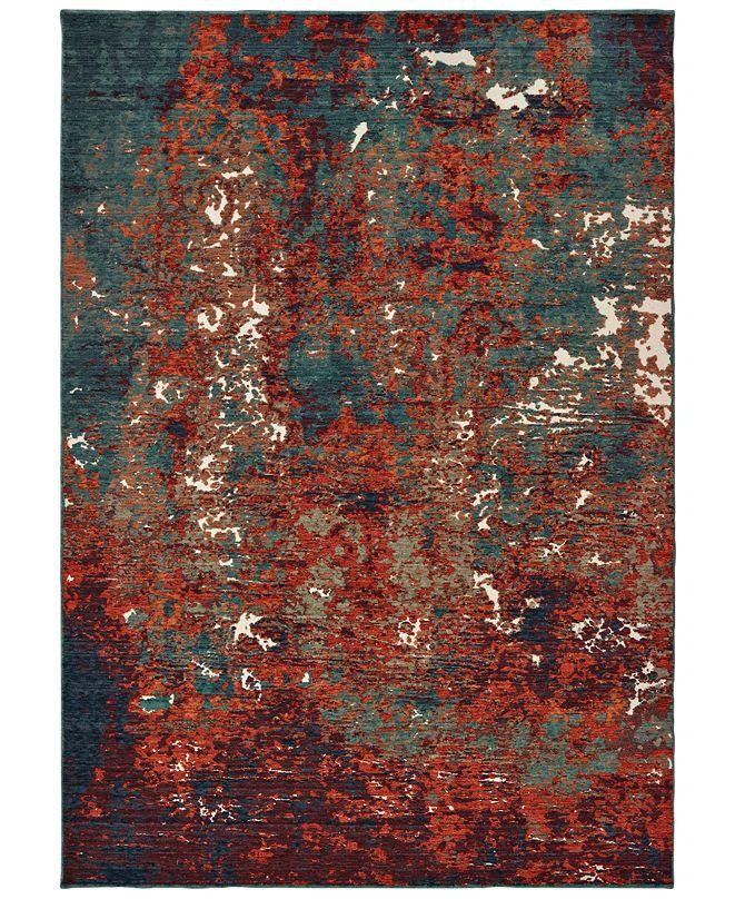 "Oriental Weavers Montage 5502C Blue/Red 3'10"" x 5'5"" Area Rug"