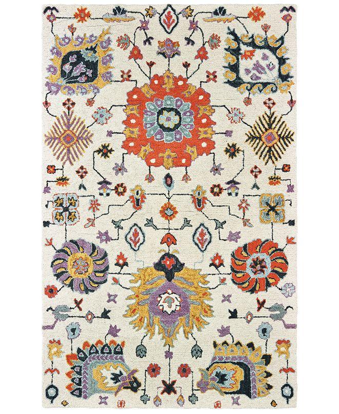 "Oriental Weavers Zahra 75502 Ivory/Orange 3'6"" x 5'6"" Area Rug"