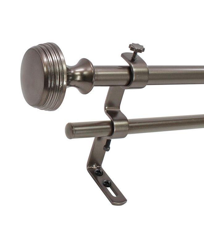 Decopolitan Montevilla  5/8-Inch  Knob Double Telescoping Curtain Rod Set, 26 to 48-Inch, Hematite