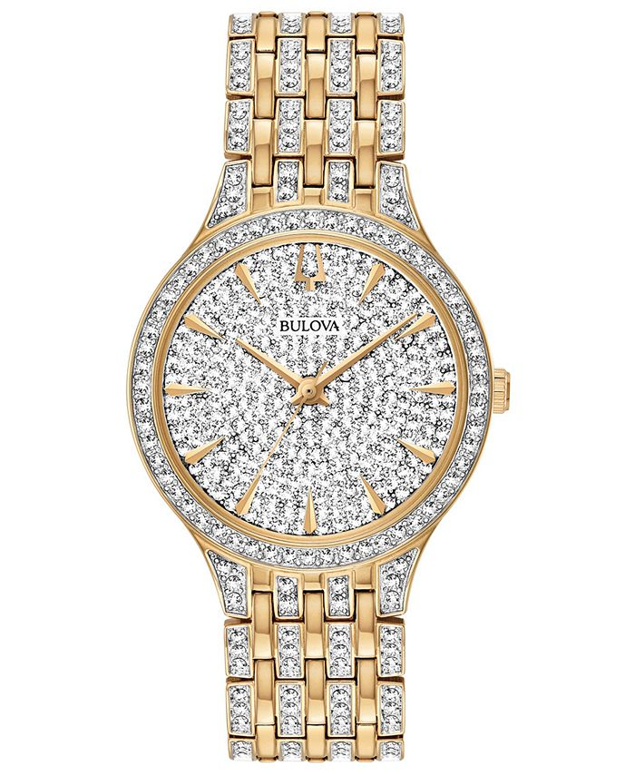 Bulova - Women's Phantom Gold-Tone Crystal-Accent Stainless Steel Bracelet Watch 32mm