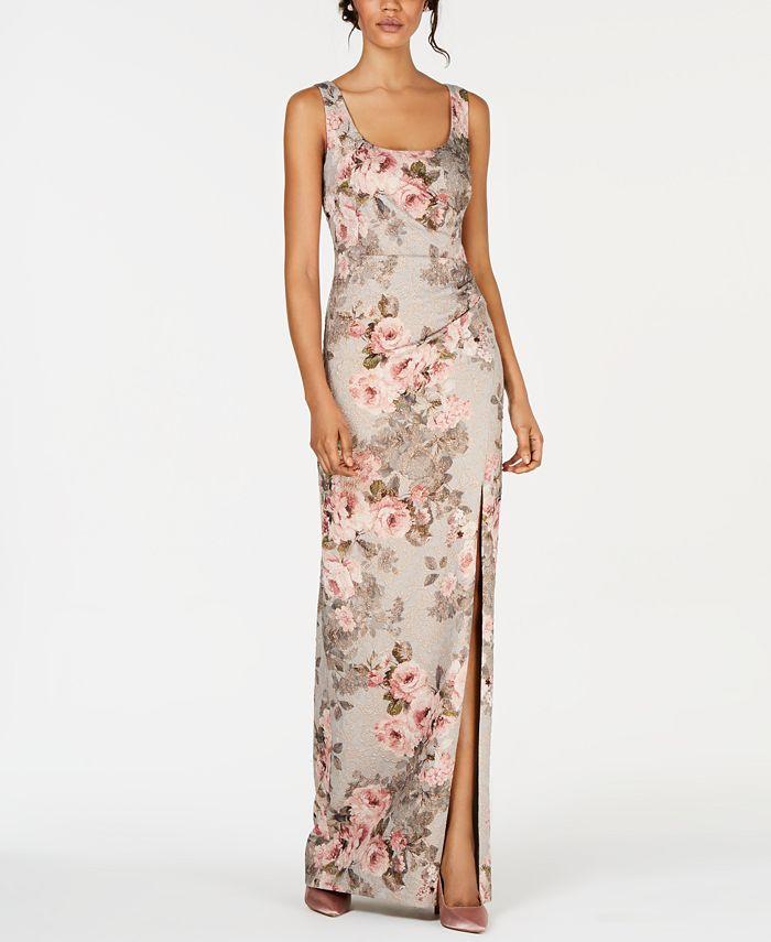 Adrianna Papell - Metallic Floral-Print Gown