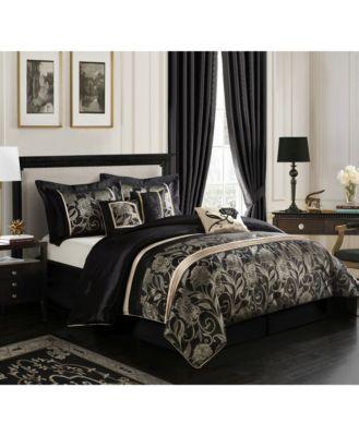 Mollybee 7-Piece Comforter Set, Black, Queen