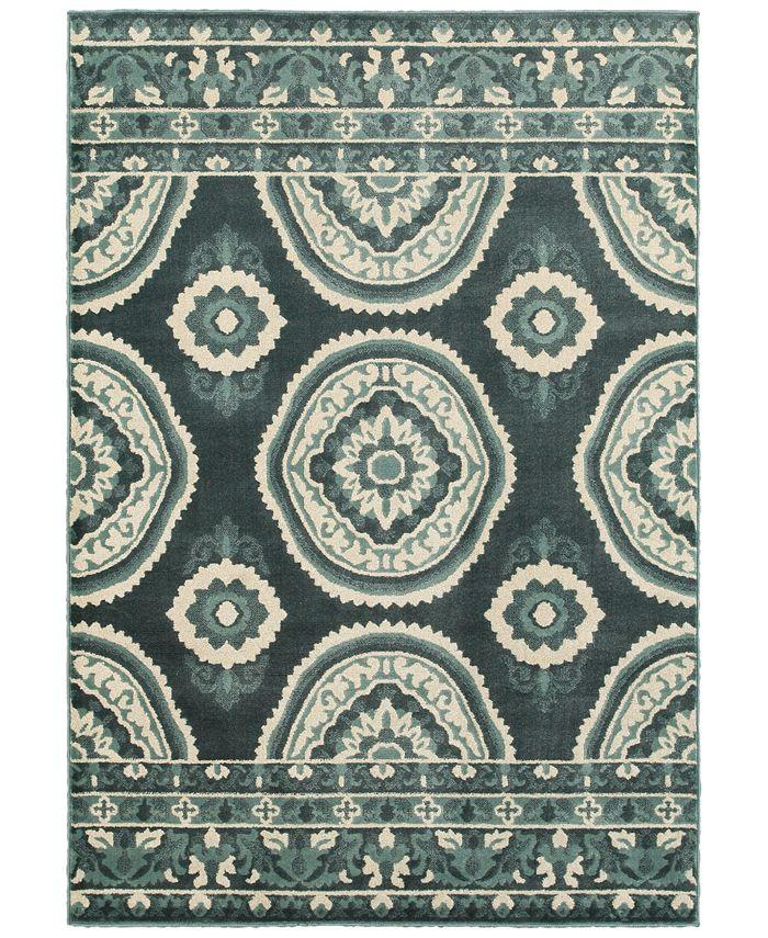 """Oriental Weavers - Jayden 7415B Blue/Ivory 3'10"""" x 5'5"""" Area Rug"""