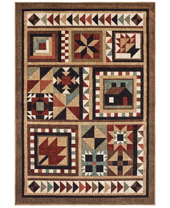 "Oriental Weavers Woodlands 9596A Brown/Multi 6'7"" x 9'2"" Area Rug"