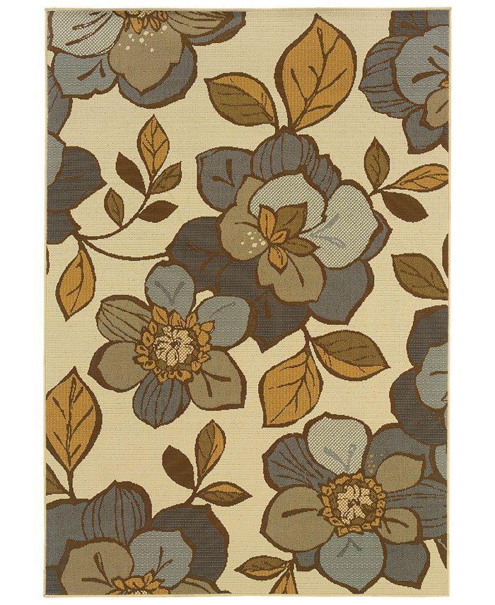 """Oriental Weavers - Bali 9448M Ivory/Gray 3'7"""" x 5'6"""" Indoor/Outdoor Area Rug"""