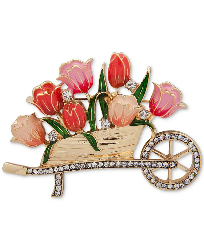 Anne Klein - Gold-Tone Pavé & Colored Enamel Flower Cart Pin