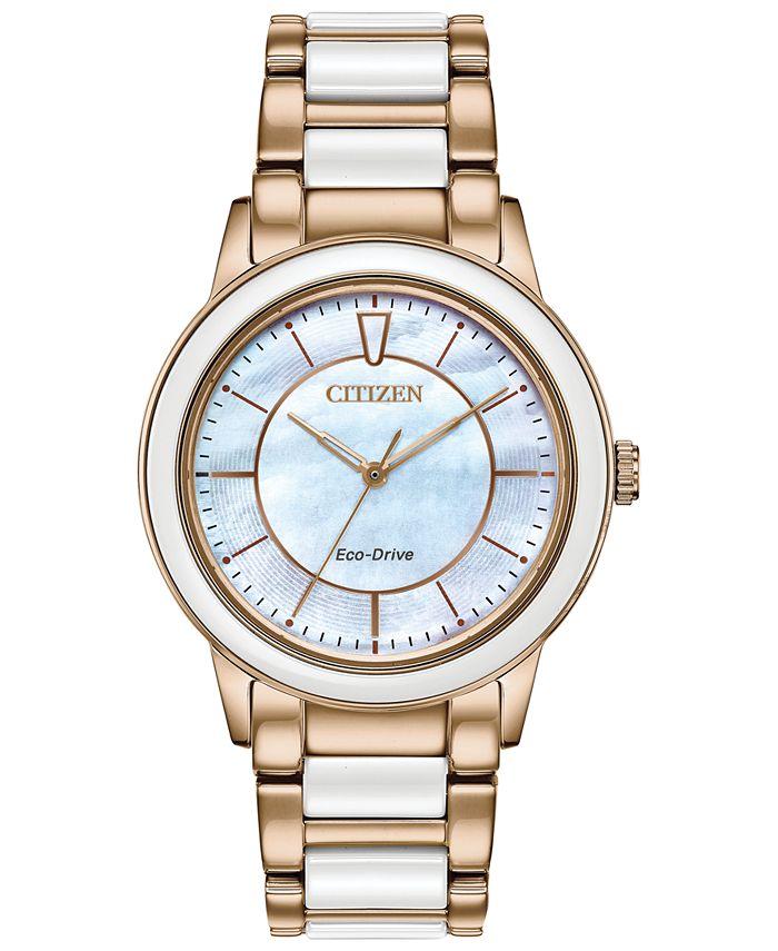Citizen - Women's Chandler Rose Gold-Tone Stainless Steel & White Ceramic Bracelet Watch 36mm