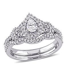 Certified Diamond (7/8 ct. t.w.) Pear-Shape Halo Split Shank Bridal Set in 14k White Gold