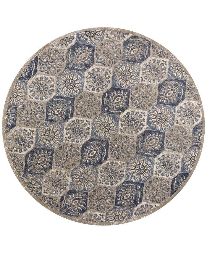 "Kas - Seville Mosaic 9451 Pewter 7'7"" Round Area Rug"