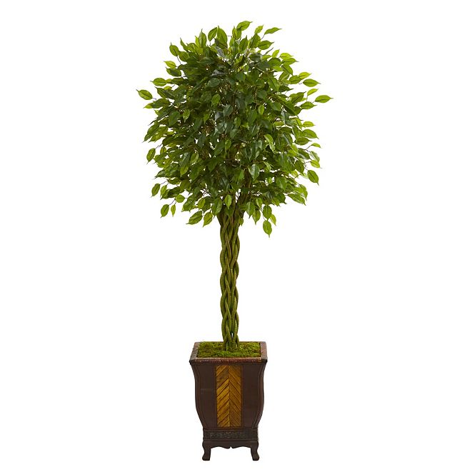 Nearly Natural 6' Braided Ficus Artificial Tree in Decorative Planter