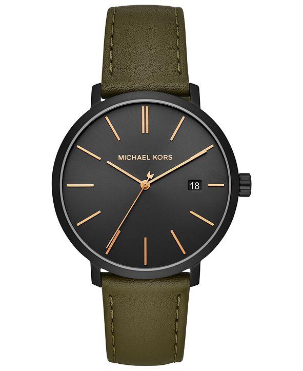Michael Kors Men's Blake Olive Leather Strap Watch 42mm