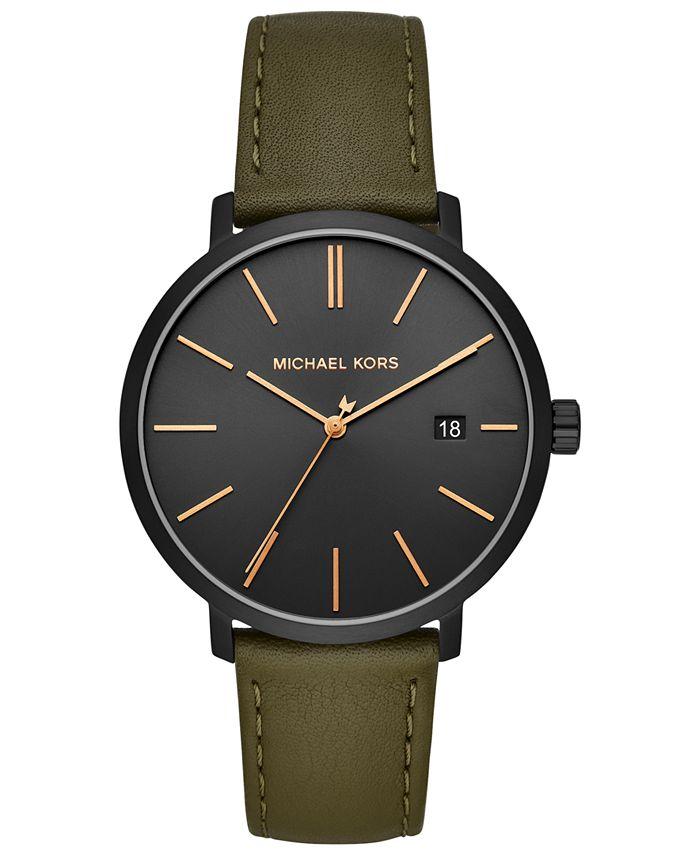 Michael Kors - Men's Blake Olive Leather Strap Watch 42mm