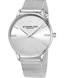 Stuhrling Men's Silver Tone Mesh Stainless Steel Bracelet Watch 42mm