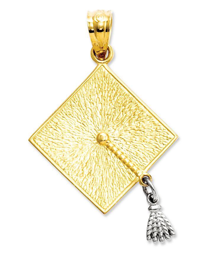 Macy's - 14k Gold and 14k White Gold Charm, Graduation Cap Charm