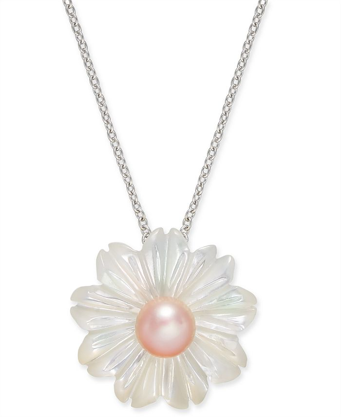 """Macy's - Pink Cultured Freshwater Pearl (6 mm) & Mother-of-Pearl (19-1/2 mm) 18"""" Pendant Necklace in Sterling Silver"""