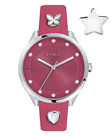 Furla Women's Pin Pink Dial Calfskin Leather Watch