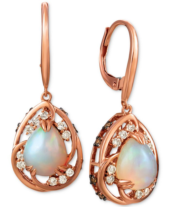 Le Vian - Neopolitan Opal (1-3/4 ct. t.w.), White Diamond (1/4 ct. t.w.)  and Chocolate Diamond (1/3 ct. t.w.) Drop Earrings in 14k Rose Gold