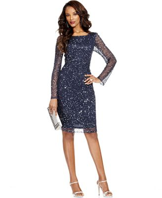 Patra Petite Dress Long Sleeve Beaded Sequin Dresses Women Macy 39 S