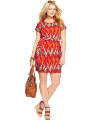MICHAEL Michael Kors Plus Size Dress Short Sleeve Printed Belted