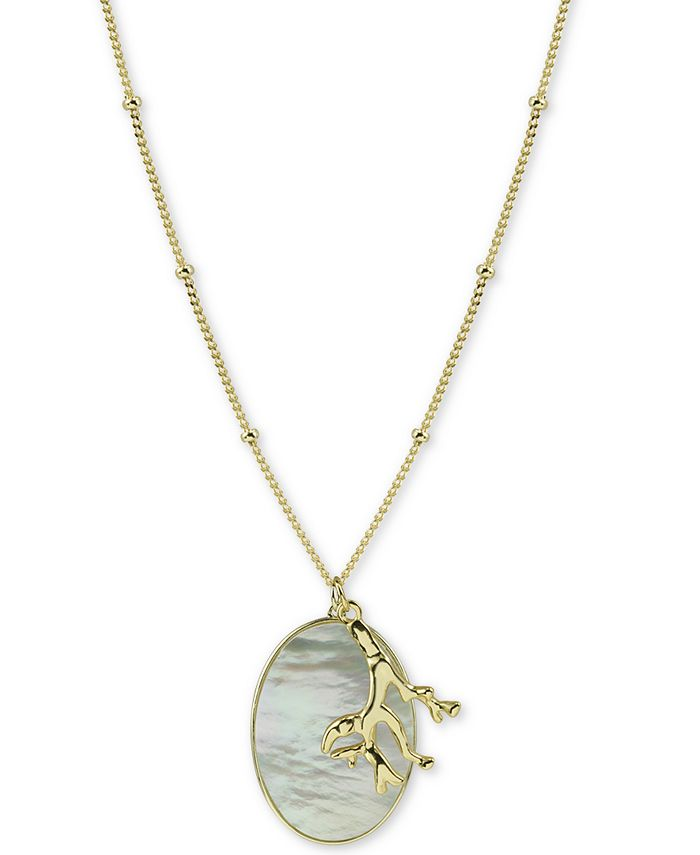 "Argento Vivo - Mother-of-Pearl Disc & Coral-Inspired Charm Pendant Necklace in Gold-Plated Sterling Silver, 30"" + 2"" extender"