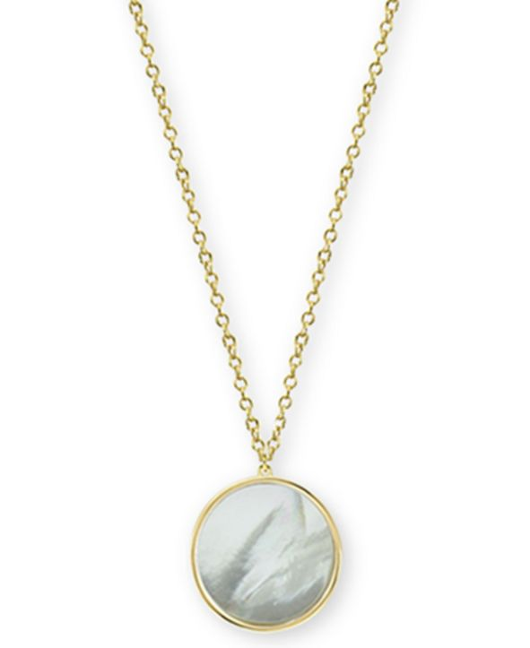 "Argento Vivo Mother-of-Pearl Disc Pendant Necklace in Gold-Plated Sterling Silver, 17"" + 1"" extender"