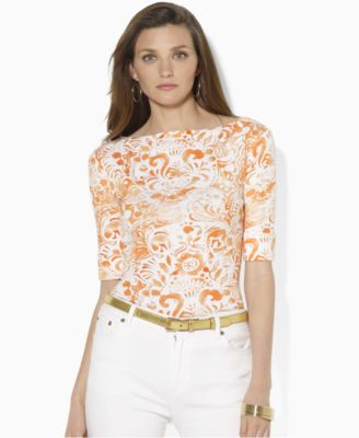 Lauren by Ralph Lauren Top Benny Short Sleeeve Cotton Printed Boatneck