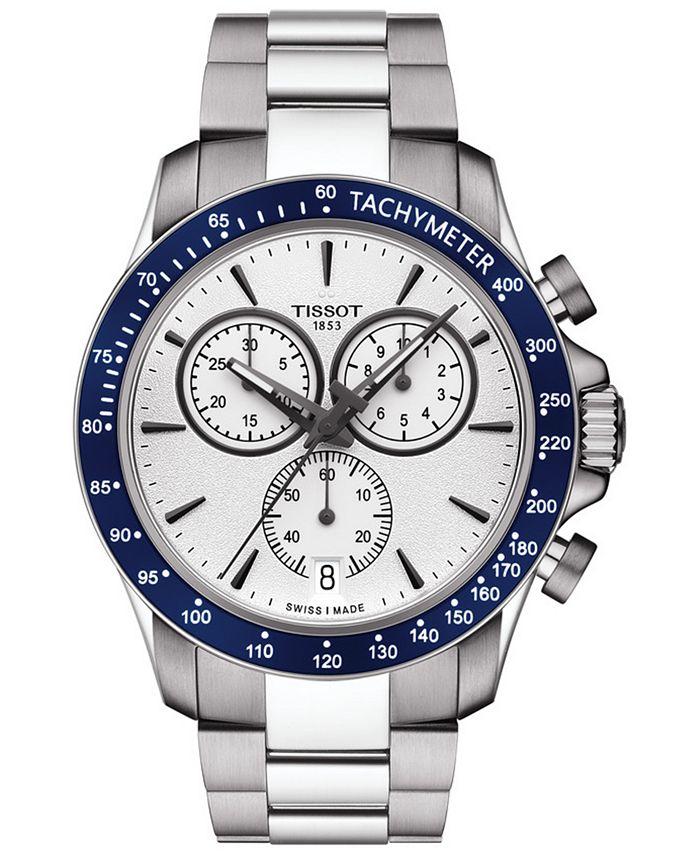 Tissot - Men's Swiss Chronograph T-Sport V8 Stainless Steel Bracelet Watch 42.5mm