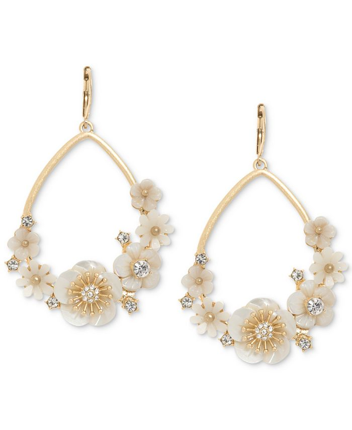 lonna & lilly - Gold-Tone White Flower Drop Earrings