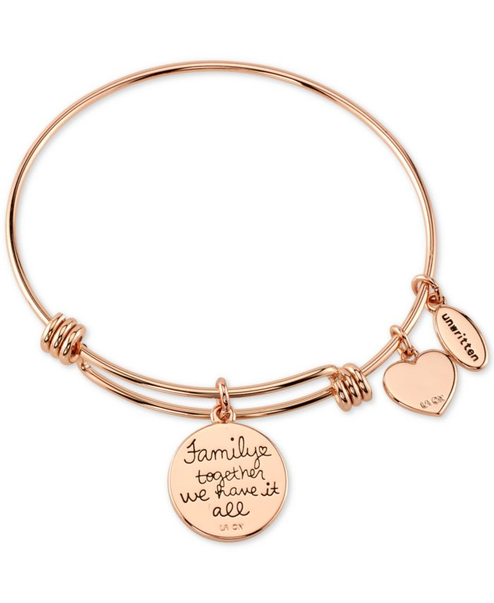 Unwritten Family Tree Inlay Charm Bangle Stainless Steel Bracelet in Rose Gold-Tone with Silver Plated Charms & Reviews - Bracelets - Jewelry & Watches - Macy's