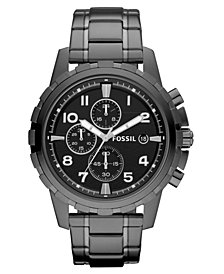 Fossil Men's Chronograph Dean Smoke Ion Plated Stainless Steel Bracelet Watch 45mm
