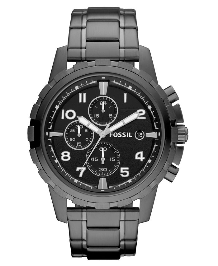 Fossil - Men's Chronograph Dean Smoke Ion Plated Stainless Steel Bracelet Watch 45mm FS4721