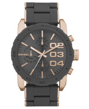 Diesel Watch, Chronograph Gray Silicone Wrapped Rose Gold Tone Stainless Steel Bracelet 46x42mm DZ5307