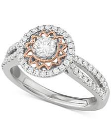 Diamond Two-Tone Sun Halo Engagement Ring (1 ct. t.w.) in 14k White and Rose Gold