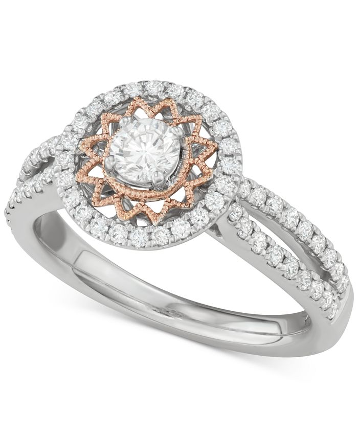 Macy's - Diamond Two-Tone Sun Halo Engagement Ring (1 ct. t.w.) in 14k White and Rose Gold
