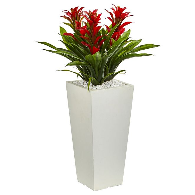 Nearly Natural Triple Bromeliad Artificial Plant in White Tower Planter