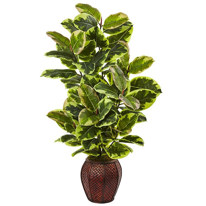 Nearly Natural Rubber Plant w/ Planter