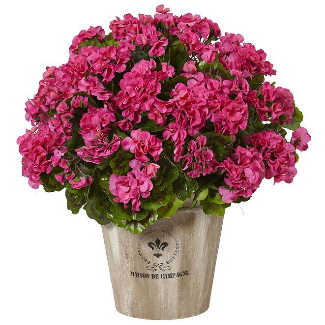 Nearly Natural Geranium Silk Flowering Plant in Farmhouse Planter UV Resistant