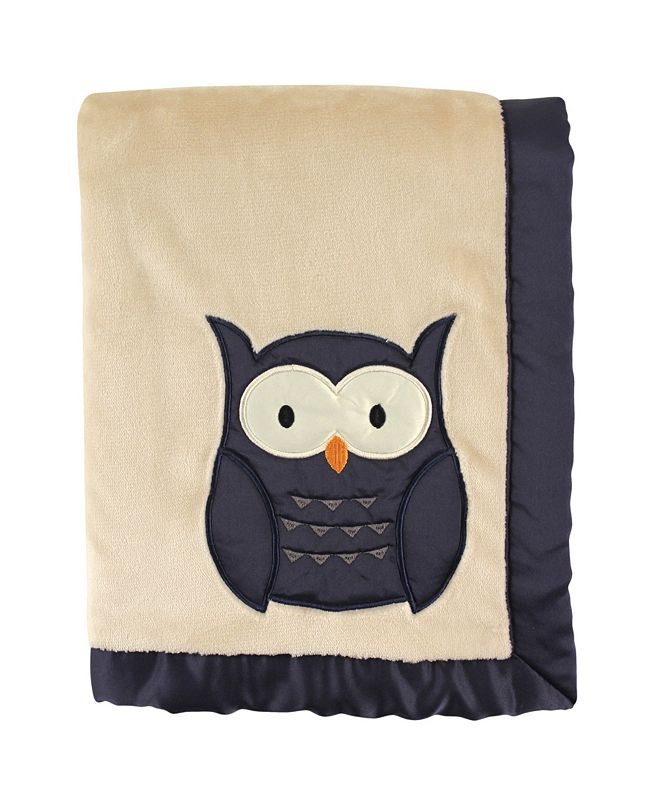 Hudson Baby Plush Blanket with Satin Applique and Binding, Owl, One Size