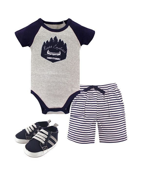 Yoga Sprout Bodysuits, Shorts and Shoes, 3-Piece Set, 0-18 Months