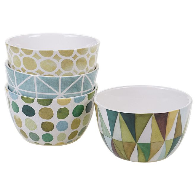 Certified International Mixed Greens Pattern 4-Pc. Ice Cream Bowl