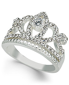 Charter Club Fine Silver Plate Crystal Crown Ring, Created for Macy's