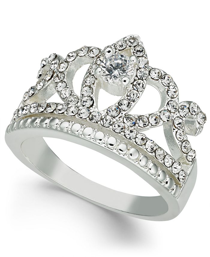 Charter Club - Fine Silver Plate Crystal Crown Ring