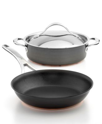 "Anolon Nouvelle Hard-Anodized Copper 3 Qt. Covered Sauteuse & 10"" Open Skillet"