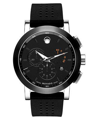 movado s swiss museum sport chronograph black