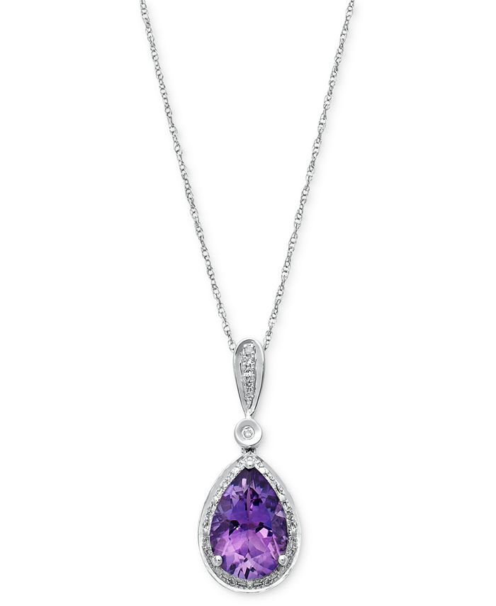 Macy's - Amethyst (2-5/8 ct. t.w.) and Diamond Accent Pendant Necklace in 14k White Gold