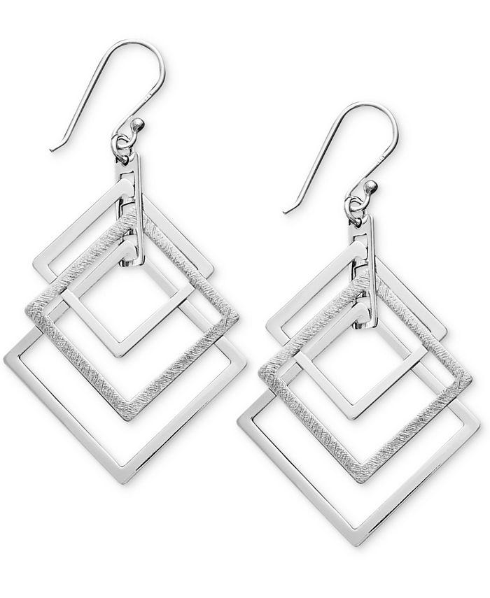 Unwritten - Sterling Silver Earrings, Triple Square Drop Earrings