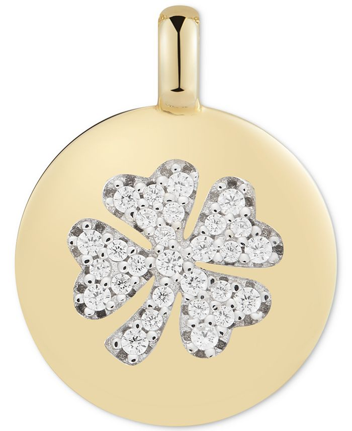 """CHARMBAR - Swarovski Zirconia Clover """"Lucky to Have"""" Reversible Charm Pendant in 14k Gold-Plated Sterling Silver"""