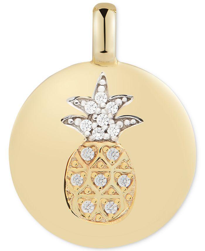 "CHARMBAR - Swarovski Zirconia Pineapple ""Stay Golden"" Reversible Charm Pendant in 14k Gold-Plated Sterling Silver"