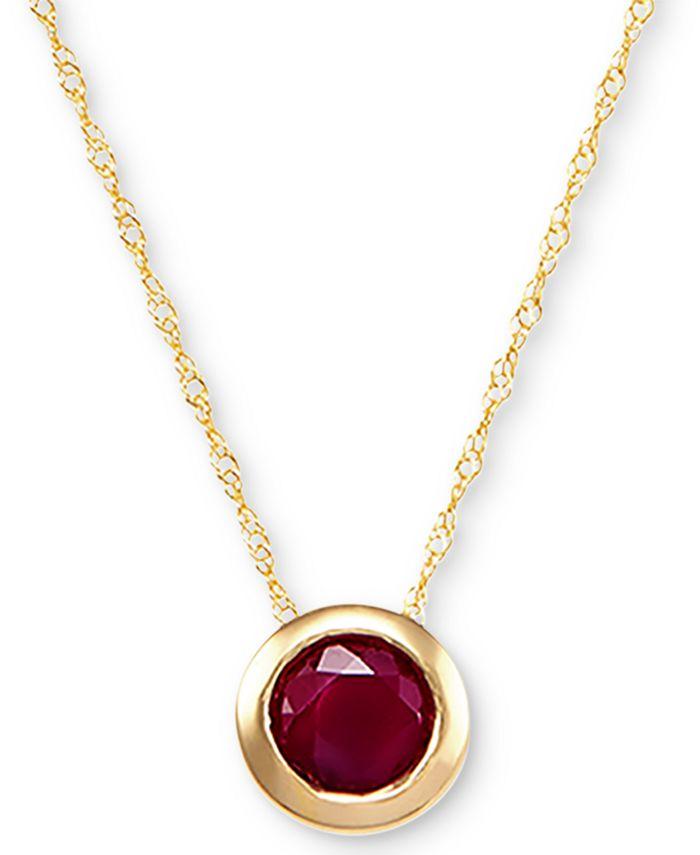 "Macy's - Birthstone 18"" Pendant Necklace in 14k Gold"